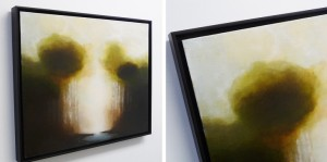 Oil paintings in floater frames